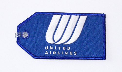 United Airlines Blue Embroidered Luggage Tag Flight