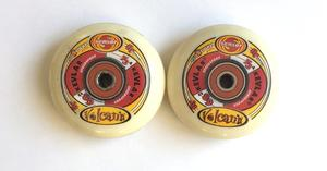 68MM In-Line Skate Wheels - White with Red
