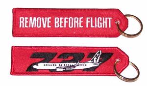 Remove Before Flight/737 Embroidered Key Ring Banner