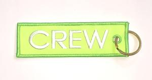 Neon Green Crew Embroidered Key Ring Banner