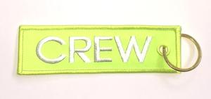Neon Yellow Crew Embroidered Key Ring Banner