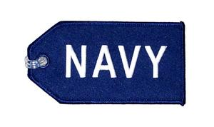 Navy Embroidered Luggage Tag