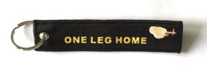 """One Leg Home""  Black Embroidered Key Ring Banner"