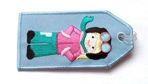 Pilot Girl Embroidered Luggage Tag