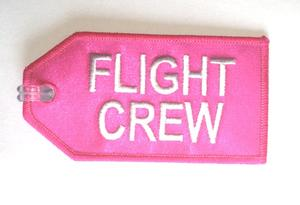 Pink Flight Crew Embroidered Luggage Tag
