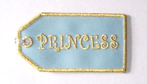Princess Embroidered Luggage Tag - Blue