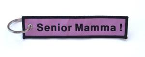 """Senior Mamma"" Embroidered Key Ring Banner"