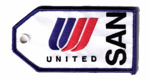 United Airlines SAN Embroidered Luggage Tag