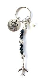 Follow Your Heart Charm Keychain - Black