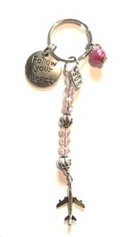 Follow Your Heart Charm Keychain - Pink