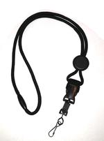 Black Cord Lanyard with Metal Swivel Hook