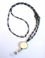 """Metallic Luster"" Beaded Lanyard with Retractor"
