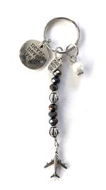 Never Give Up Charm Keychain - Black