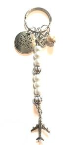 Never Give Up Charm Keychain - White