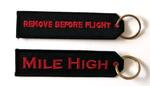 Remove Before Flight Mile High Embroidered Key Ring Banner
